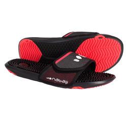 男式泳池拖鞋 SLAP 900 BLACK RED