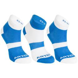 青少年中帮运动袜RS 160 三双装- 蓝色/白色