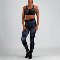 500 女式有氧健身运动文胸 - 灰色印花
