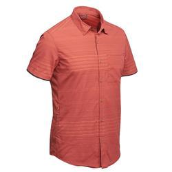 Travel 100 男式短袖衬衫 - 橙色条纹