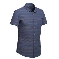 Travel 100 男式短袖衬衫 - 蓝色条纹