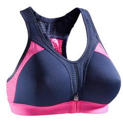 女式有氧健身运动文胸 900 POWER - 海军蓝/粉色