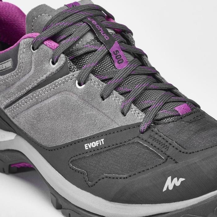 女式山地徒步防水鞋 MH500 - 灰紫色