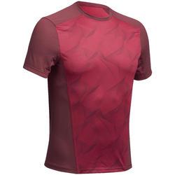 男式山地徒步短袖T恤 MH500 - 酒红色印花