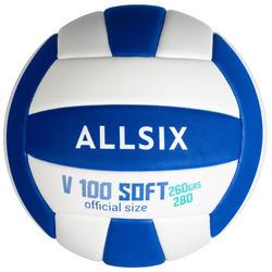 V100 排球Soft 适合15岁的青少年使用,260-280克 白色/蓝色