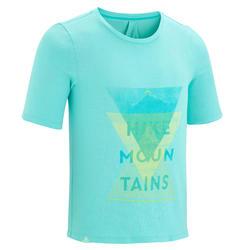 女童山地徒步T恤 MH100(7 至 15 岁)- 蓝绿色