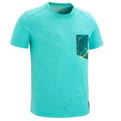 男童青少年山地徒步 T 恤 MH100 (7 至 15 岁)- 蓝绿色