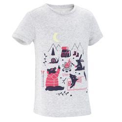 女童山地徒步T恤 MH100 - 麻灰色