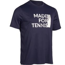 男士网球柔软T恤100-海军蓝