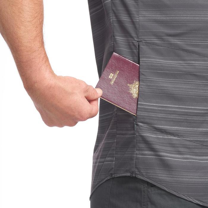 TRAVEL100男式旅行短袖衬衫 - 灰色条纹