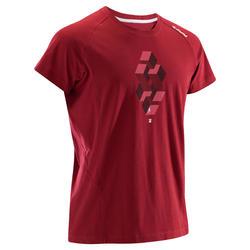 男式攀岩短袖 T 恤 舒适款 - 酒红色