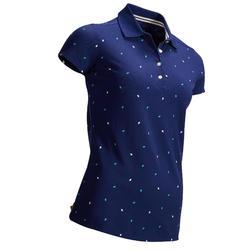 女士凉爽天气高尔夫Polo衫-深蓝点点