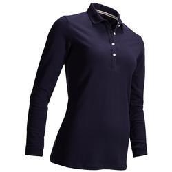 女士高尔夫长袖Polo衫- 海军蓝