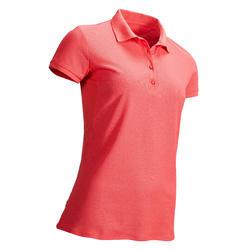 女士炎热天气高尔夫透气Polo衫-斑驳草莓粉