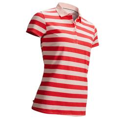 STRAWBERRY PINK WOMEN'S MILD WEATHER GOLF POLO WITH PALE PINK STRIPES