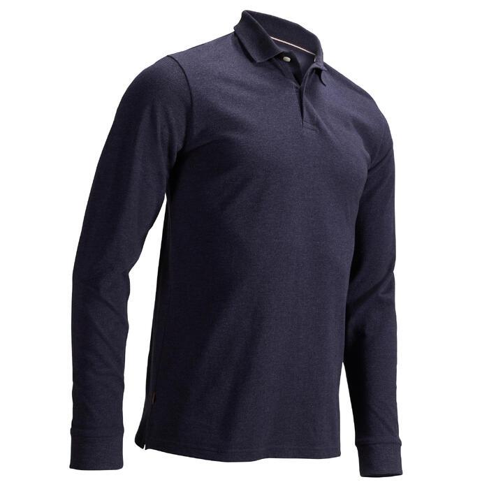 男士高尔夫长袖Polo衫- 牛仔蓝