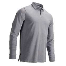 男士凉爽天气高尔夫长袖Polo衫-花灰色