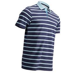 男士凉爽天气高尔夫短袖Polo衫-薄荷蓝条纹
