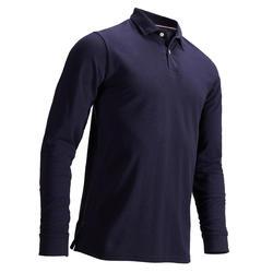 男式凉爽天气高尔夫长袖Polo衫-海军蓝