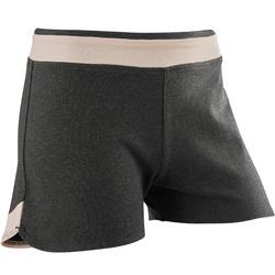女童青少年体能短裤500系列 - 灰色印花