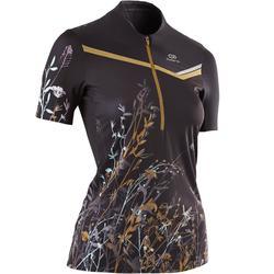 女士越野跑短袖T恤-黑色