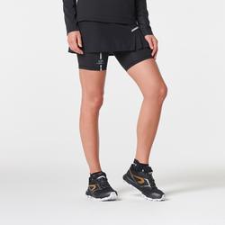 女式越野跑紧身裙裤-黑色