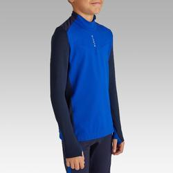 成人足球训练半拉链运动衫T900- 蓝色/海军蓝