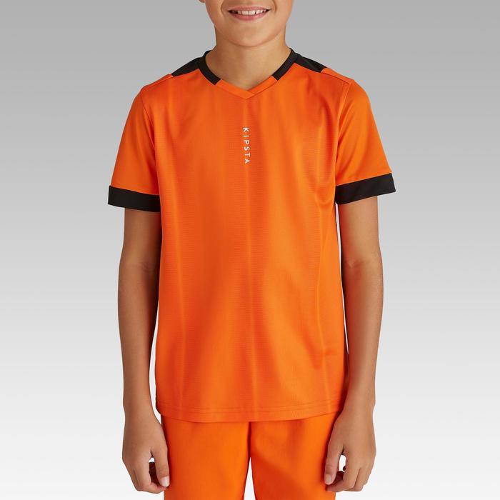 儿童短袖足球运动服 F500 - 橙色/黑色