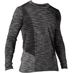 女式瑜伽无缝长袖T恤 - 黑色/灰色