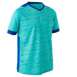 儿童短袖足球运动服 F500 - 蓝绿色/蓝色