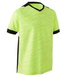 儿童短袖足球衫F500 - 荧光黄/黑色