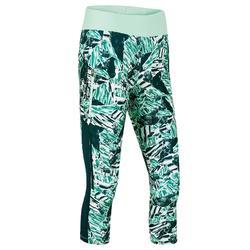 女式跑步运动快干七分裤-绿色