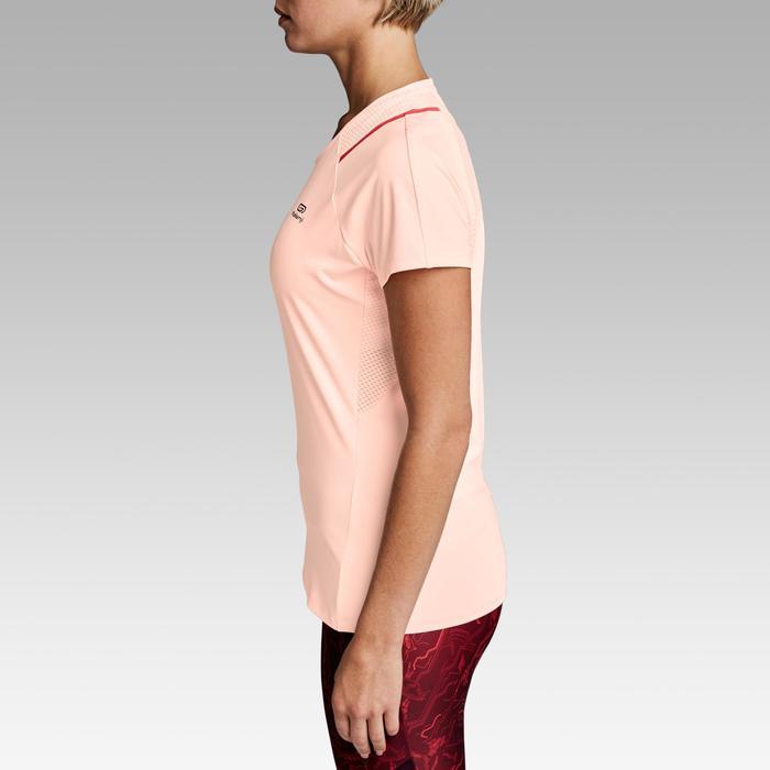 女式跑步运动快干T恤-浅桃红色