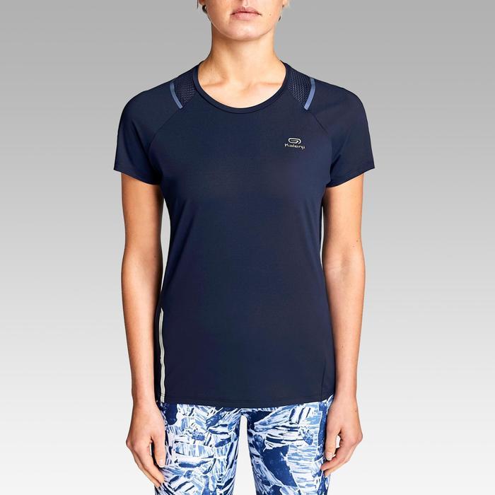 女士跑步透气T恤-海军蓝色