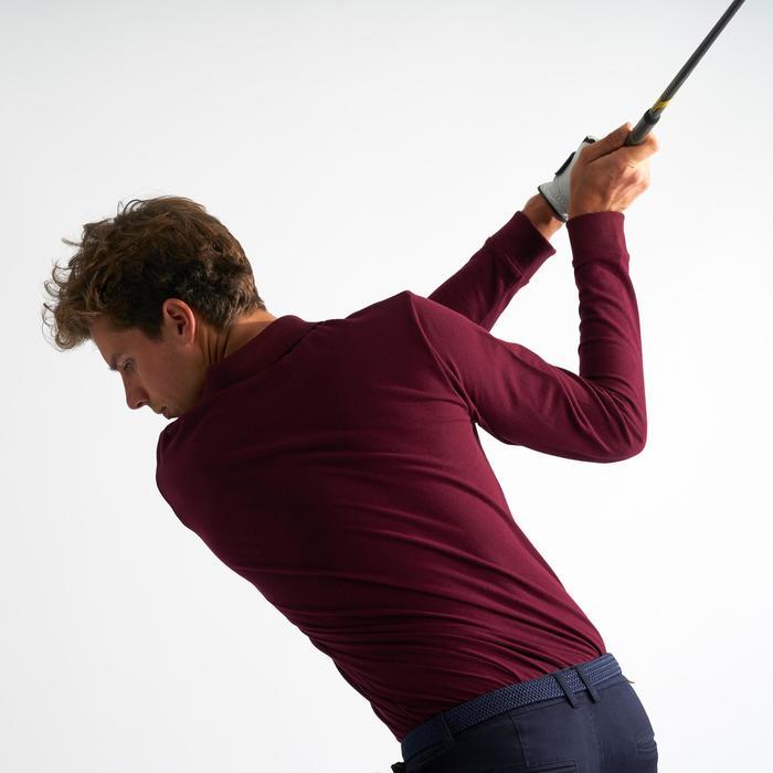 男士高尔夫长袖Polo衫 - 酒红色
