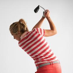 女士凉爽天气高尔夫Polo衫-粉条纹