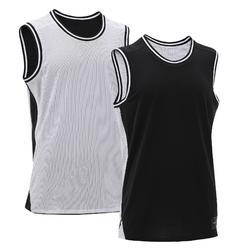 正反两穿篮球背心, 适用于中阶篮球爱好者- 黑色/白色