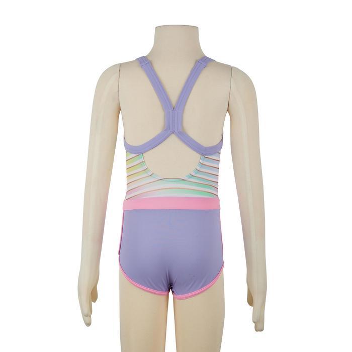 女童短款连体式泳衣Debo - Stripes Purple