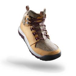 女式郊野徒步中帮防水靴 - 米色 | NH500