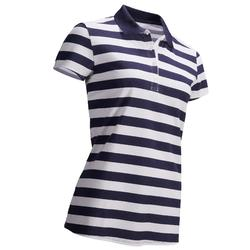 凉爽天气女士高尔夫Polo衫-蓝条纹