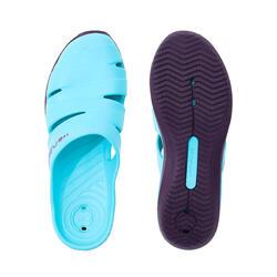 女式泳池凉鞋SCU 100 BLUE PURPLE