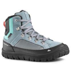 青少年冬季徒步保暖雪地靴 中帮 SH500(系带式)- 蓝色