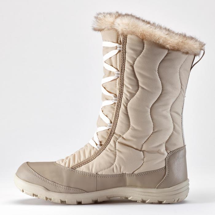 SH500 女式冬季徒步系带式保暖雪地靴 - 米色
