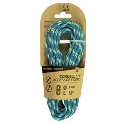 攀岩辅绳 6 mm x 5.5 m - 蓝色