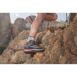 女式中帮山地徒步鞋-防水-灰色/粉色丨MH500