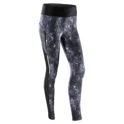 女式跑步运动快干紧身裤-黑色印花
