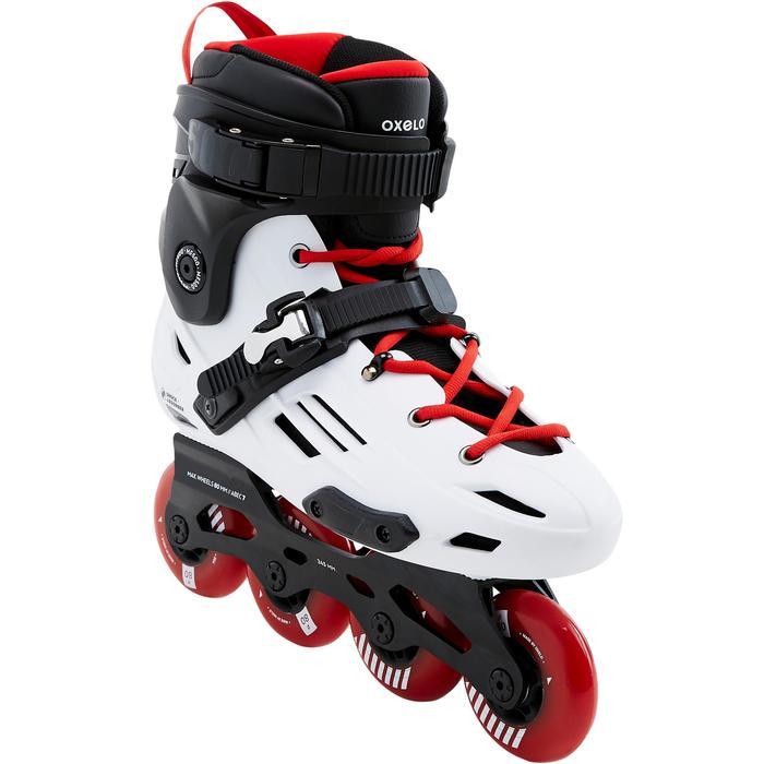 成人直排轮滑鞋MF900 HardBoot Freeride - White/Red