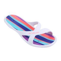 女式泳池拖鞋鞋- WHITE GREEN