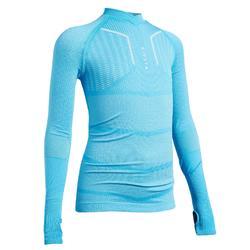 儿童长袖训练紧身衣 Keepdry 500- 天蓝色