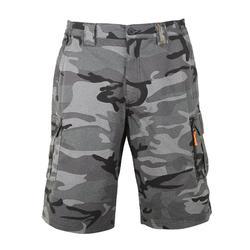 荒野探险纯棉百慕大短裤-蓝灰丛林迷彩